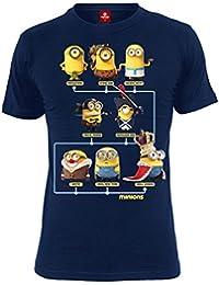 T-shirt Minions Through the Ages coton bleu marine