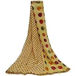 PEEGLI Mujeres Indias Dupatta Lentejuelas Vintage Chal Gasa Seda DIY Tela Usada Lunares Patrón Cuello Envoltura Bollywood Moda Bufanda Amarillo Étnico Boda Diseñador Stole