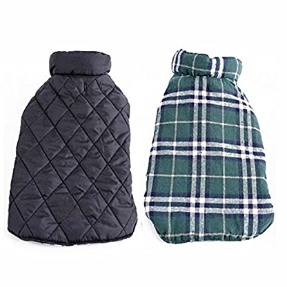 Akemiao Reversible Cozy Dog Jacket Small Medium Breed Windproof Warm Coat for Autumn Winter (Red-XS) 2