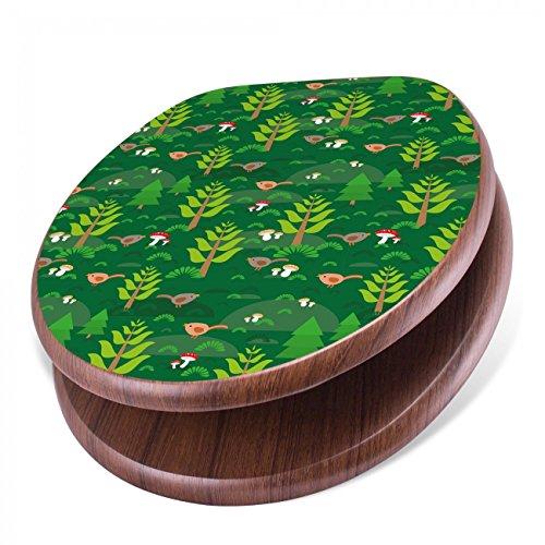 BANJADO Design Toilettensitz mit Absenkautomatik, WC-Sitz Holz, Klodeckel mit Metall Scharnieren, Toilettendeckel mit Motiv Grüner Wald