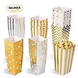 MVPower Popcorn Boxen 100 Pcs Party Candy Tüten Container Behälter Karton Gold Silber L/M/S (3er Größe Set)