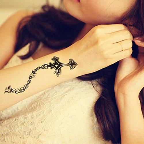 Tafly christian croce tatuaggi temporanei impermeabile corpo 3d arte falso adesivi unisex 5 fogli