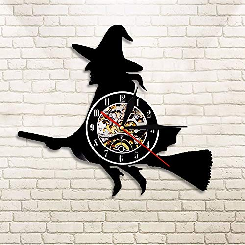 JIANGRC Vinyl Record Wall Clock 1 Pieza De Halloween De La Bruja Hazel Silueta Reloj De La Decoración De Casa Bruja Voladora Vinilo Registro Reloj