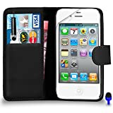 Apple iPhone 4 / 4S - Premium Leather BLACK Wallet Flip Case Cover Pouch with Mini Touch Stylus Pen BLUE Dust Stopper Screen Protector & Polishing Cloth, (WALLET BLACK)