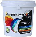 RyFo Colors Manufakturweiß 1l (Größe wählbar) - unsere beste Profi-Wandfarbe, sehr ergiebige zertifizierte Innen-Dispersion, Innenfarbe, sehr hoher Weiß-Grad, Deckkraft Klasse 1, Nassabrieb Klasse 1