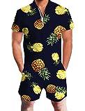 Goodstoworld Jumpsuit Herren Kurz 3D Druck Sommer Zipper Anzug Grandad Shirts Overall Onesie Romper Ananas Dunkelblau L