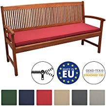 Beautissu Loft BK Bankauflage Auflage für Gartenbank Sitzkissen 150x48x5cm Rot Polsterauflage mit Oeko-Tex