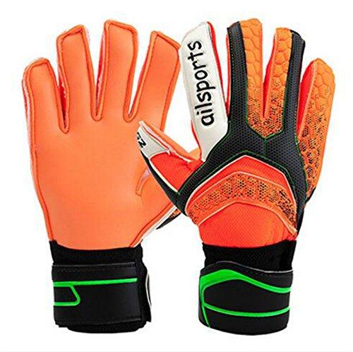 Babimax Torwarthandschuhe Fußballhandschuhe mit Fingersave, 4 mm Grip Erwachsene, Blau/Orange