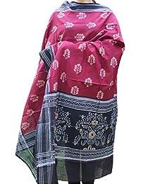 Indo Mood   Exclusive Hand Spun, Hand Woven Pure Cotton Sambalpuri Ikat Red & Black Dupatta