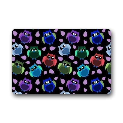 best gift Doormat Custom Waschmaschine, matt, Seamless Owl Muster mit Leaves Indoor/Outdoor Decor Rug 23,6 x 15,7 Zoll Square Woofer