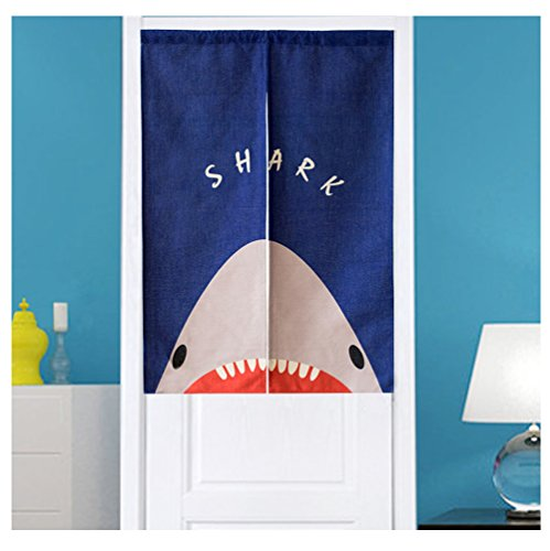 Caricatura Tiburón Puerta cortina japonés Noren cortina boho biombos