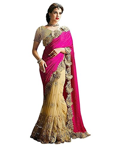 Fashion Dream Women\'s Lycra & Net Saree With Blouse Piece