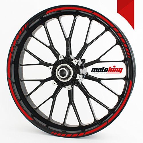 Motoking Adhesivos Borde llanta Rojo - Juego Completo