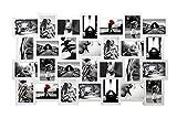 Rebecca Mobili RE4144 Cornici Multiple da Appendere, bacheca portafoto Bianca, 24 Foto Formato 10 x 15, MDF, Decorazione casa, 61 x 92 x 1,2 cm (HxLxP)