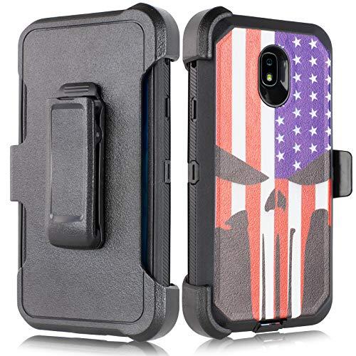 Hergestellt für Samsung Galaxy J7 2018 Refine, J7 Star, Krone, Aura, Aero, Eon, Top (SM- J737) [vierschichtiger Schutz] Heavy Duty Defender Armor Skull Hülle mit integriertem Bildschirm, Skull Flag - Us-indoor-flag