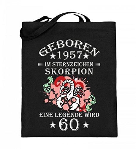Hochwertiger Jutebeutel (mit langen Henkeln) - Sternzeichen Skorpion wird 60 Schwarz