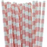 Funcart Stripe Party Paper Straws 25pcs Pink
