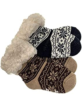 2 Paar Baby Hütten Socken Kinder Home Socks mit Teddyfutter Kuschelsocken Lammfellimitat ABS-Sohle