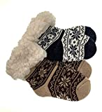 2 Paar Baby Hütten Socken Kinder Home Socks mit Teddyfutter Kuschelsocken Lammfellimitat ABS-Sohle (5551, 12-24 M, Seit 2)
