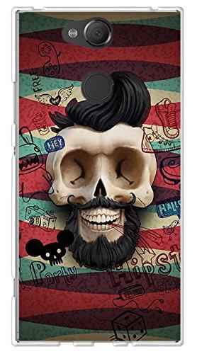 BIPOP CASE Carcasa Tete Muerte Crane Hipster Barba Bigote Sony Xperia XA2-Protección Flexible