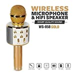 Maxxlite WS-858 Bluetooth Karaoke Wireless Microphone Recording Condenser with Stand and Audio Recording