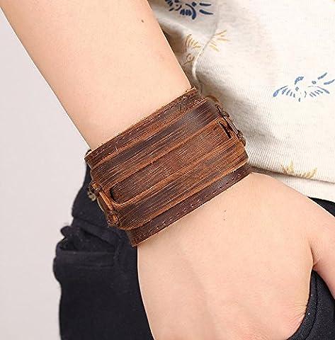 tfxwerws Fashion Herren Punk Armreif Schnalle Retro Leder Armband