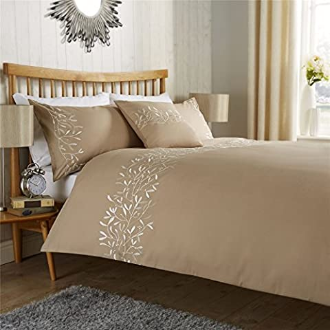 Luxury Eden Duvet Cover Set, Cotton Rich Embroidered Quilt Cover Set With Pillowcases, Single Double, King, Super King, by Olivia Rocco®, Super King,