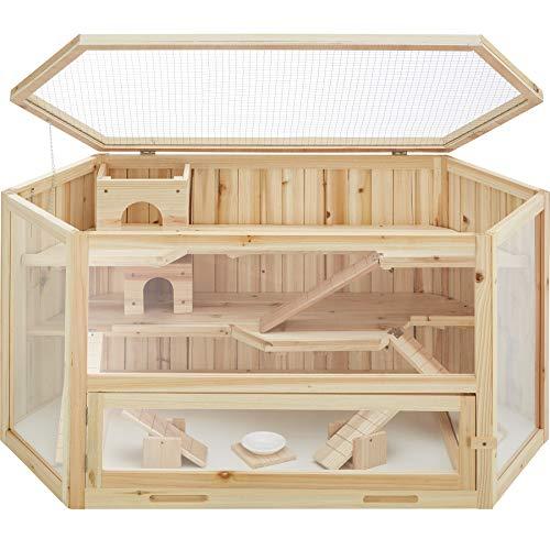 TecTake 403227 Hamsterkäfig aus Holz mit Zubehör, mehrere Etagen, aufklappbares Dachgitter, Schaufenster aus Plexiglas, herausnehmbare Schublade erleichtert die Reinigung, ca. 115 x...