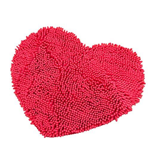 Rabatt Geflochtene Teppiche (Super Soft Chenille Herzförmige Schlafzimmer Teppich Tür Matte Teppich Rose)