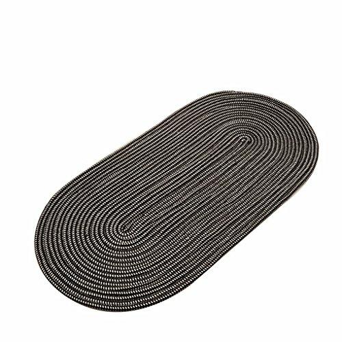 JIN PING Beautiful Homes Faser-Seil, das ovalen Teppich-Wohnzimmer-Kaffee-Tabellen-Schlafzimmer-Bettdecke-Umweltschutz-Maschine waschbar webt Einfach zu säubern ( Farbe : Black , größe : 100*200cm )