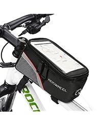 """Yakamoz caja bicicleta delantero sobre Top Tubo marco Pannier Bolsa de bicicleta Frame para mobilophone caja de marco bicicleta resistente al agua de teléfono portátil para teléfono < 5,7"""""""