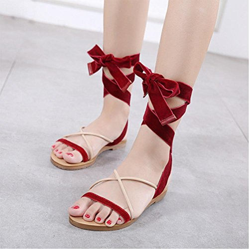 Banded Sandals Frauen flache Satin Streifen Red