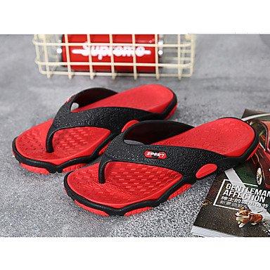 Coppia Scarpe Athletic uomini di estate PU Athletic tacco basso Magic Tape Grigio Rosso Esecuzione di San sandali US7 / EU39 / UK6 / CN39