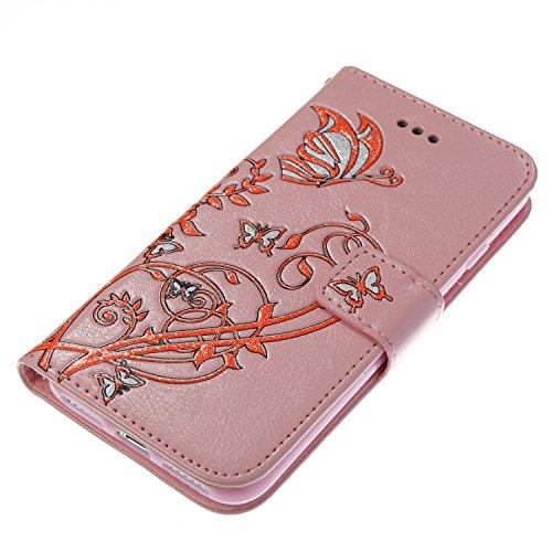 JIALUN-Telefon Fall Druck Farbe Schmetterling Blumen mit Lanyard Card Slot, Eingebaute Halterung Flat Phone Cover für IPhone 7 ( Color : Blue ) Pink