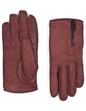 tigha Damen Leder Handschuhe Herbst Winter Accessoire rot