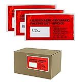 1000 Dokumententaschen DIN Lang rot - Lieferscheintaschen Rechnungstaschen DL 228 x 120mm - 1000x 1000 Stück