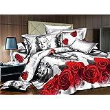 Sweet Marilyn Monroe und rot Rose Print 4Bettbezug Sets