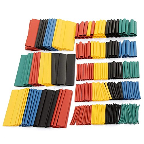 JINM Schrumpfschlauch, 328 Stück, 2:1 Polyolefin, Halogenfrei, Elektrische Isolierschlauch, Schrumpfschläuche, Schläuche, Ummantelungskabel, 5 Farben, 8 Größen