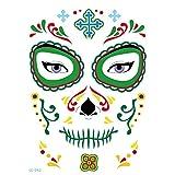 axusndas - Adhesivos de Cara Temporal para Halloween, diseño de Calavera de azúcar, diseño Floral, para Disfraz de araña, Sangre, Cicatrices, murciélagos, 05#