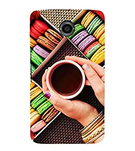 Colourful Macarons and Tea 3D Hard Polycarbonate Designer Back Case Cover for Motorola Nexus 6 :: Motorola Nexus X :: Motorola Moto X Pro :: Motorola Google Nexus 6