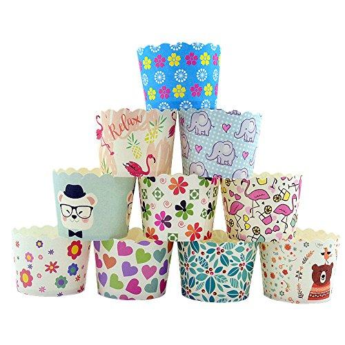 CAN_Deal 100 Stück Muffin Backformen aus stabilem Papier, groß Ø 5 cm, Muffinförmchen / Cupcake Backformen