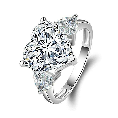 SonMo Ring 925 Echt Silber Trauringe Eheringe Heiratsantrag Ring Solitär Weiß Ringe mit Diamant Zirkonia Ringe für Frauen Größe 60 (19.1)