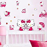 #8: SYGA Cute kittie Girls Room Decor Floral Decals Design Wall Stickers