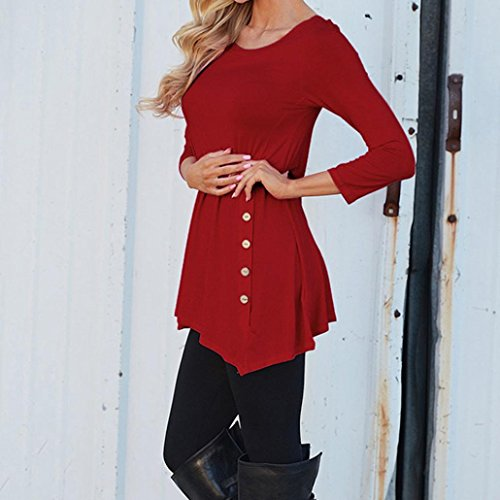 OHQ WomenS Round Neck Button Irregular T-Shirt Noir Bleu Gris Rose Blanc ArméE Verte Foncé Vif Du Vin Women Long Sleeve Loose Trim Blouse Solid Color Tunic CartonnéE Rigide Avec Elastique Du vin
