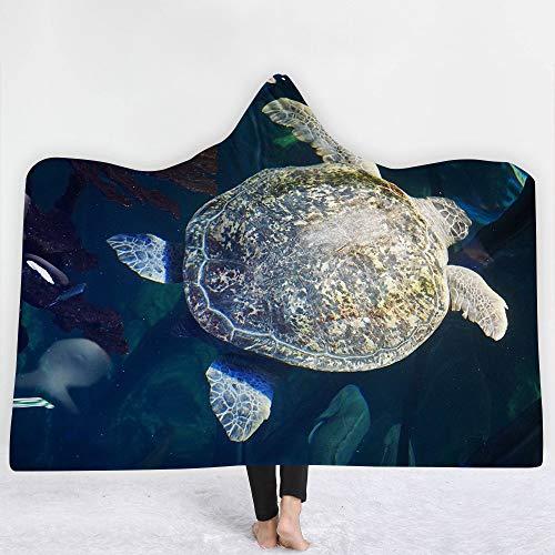 Iblan coperte per divano e letto, antirughe resistenti alle intemperie,coperta con cappuccio coperta da tartaruga serie marine turtle, 150 * 200 cm