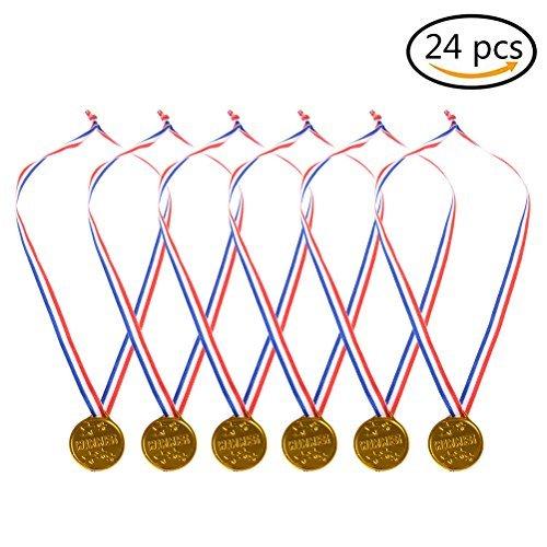 buytra Kunststoff Gold Medaillen 24Stück, Kinder Gold Winner Award Medaillen mit Band für Party Spiel Preise