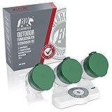 CSL - Funksteckdosen Set mit Fernbedienung | 3er Set für den Außenbereich/Outdoor | LED-Statusanzeige (blau) | Spritzwassergeschützt | Kindersicherungsschutz | 3680W | IP44 | weiß/grün (matt) Test