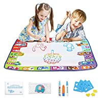 Fan Water Doodle Mat 78 x 78 cm, aqua Water Drawing Mat with 3 Magic Pens and Stamp Set, Reusable Drawing Painting Mat for Children Baby Toddler