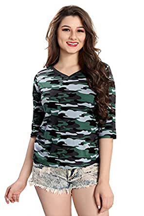 AV2 Women Camouflage/Military Printed 3/4th Sleeve Top