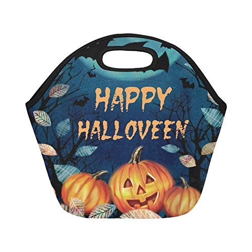 Isolierte Neopren-Lunch-Tasche Happy Halloween Spooky Autumn Große wiederverwendbare thermische dicke Lunch-Tragetaschen Für Brotdosen Für den Außenbereich, Arbeit, Büro, Schule